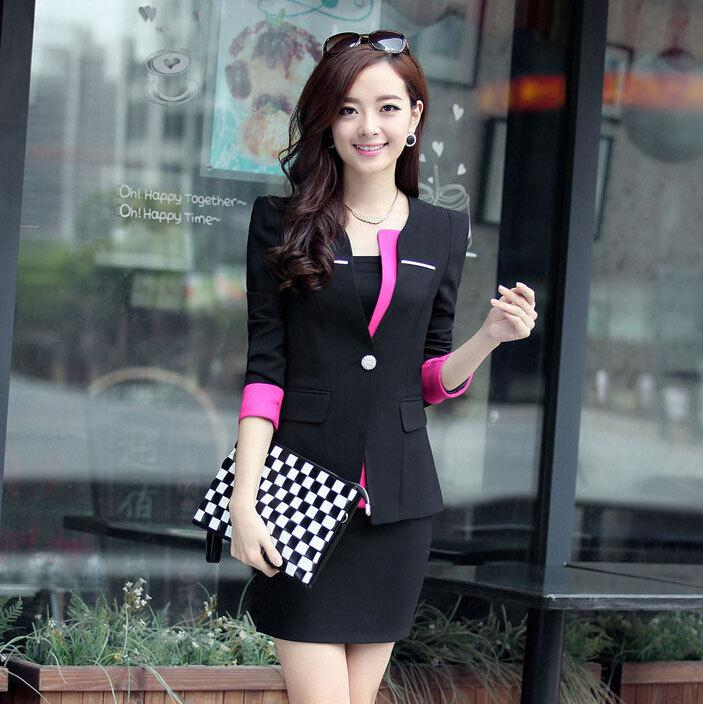 a5828fc7721 Women Blazers And Jackets Women s Formal Office Skirt Suits Ladies OL Work  Long Sleeve Suit Mini Skirt Plus Size S-3XL Women Elegant Skirt Suits Female  ...