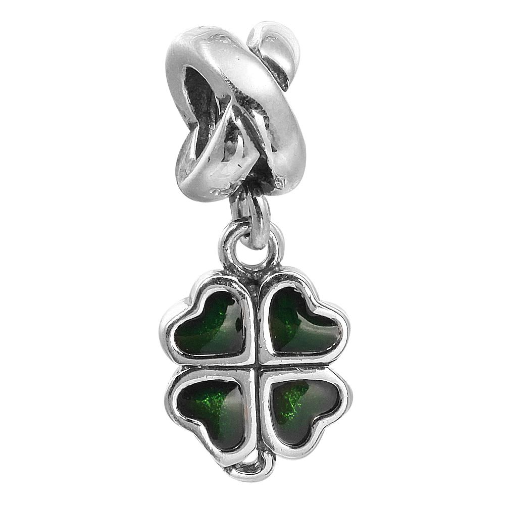 e9c06d237 ... promo code 2018 four leaf clover charm dark green enamel 100 925  sterling silver beads fit