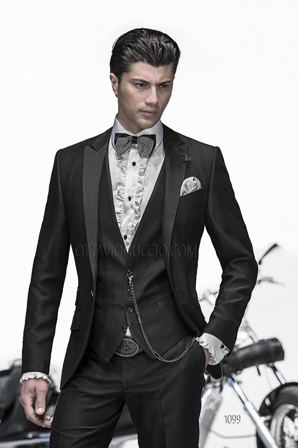 Cheap 2015 Slim Fit Mens Wedding Suit Black Tuxedos Peaked Lapel ...