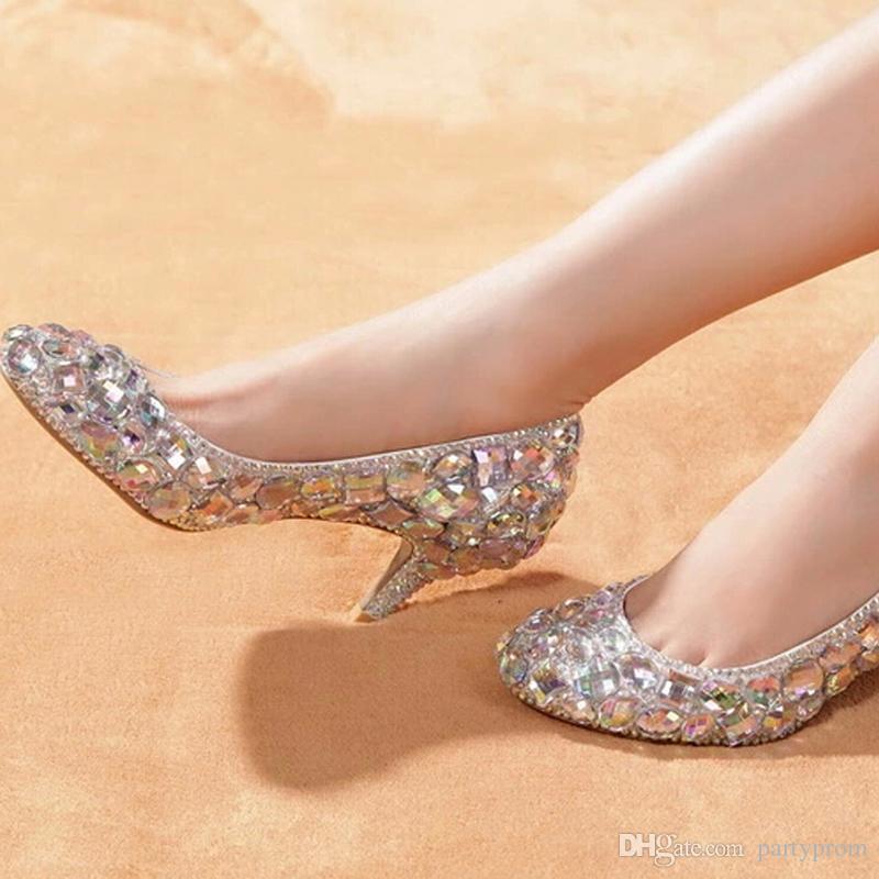 Glitter AB Crystal Party Prom Shoes 6cm Medio tacco da sposa abito da sposa scarpe da donna con strass Diamond Dress formale pompe