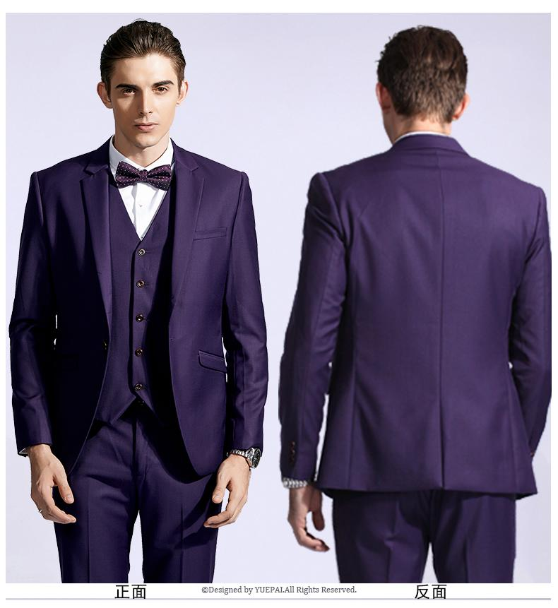 New Stylish Slim Fit Purple Groom Tuxedos Notched Lapel One Button ...
