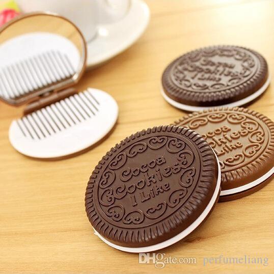 Mini cookies de cacau bonitos espelho espelho espelho espelho de chocolate sanduíche de biscoito maquiagem espelho de maquiagem plástico ferramentas de maquiagem rosto compacto espelho DHL