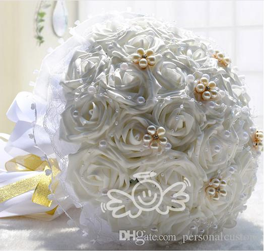 white pe flowers bridal bouquet artificial pearls beaded wedding bouquets silk bridesmaid hand hold bouquet lace adorned wedding flowers singapore wedding