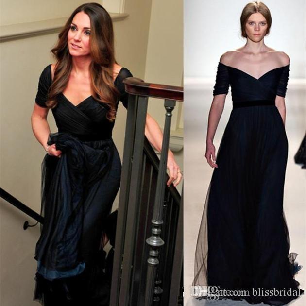 0bce4c6124 2015 Kate Middleton Evening Dresses Jenny Packham Navy Blue A Line Off  Shoulder Formal Evening Dresses Short Sleeve Celebrity Party Dresses Short  Evening ...