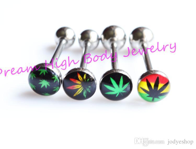 Najnowszy Język Bar Ring Proste Piercing Body Biżuteria Mieszane Logos 14G Zielony Liść 316L Ze Stali Nierdzewnej Colorfu Barbell L