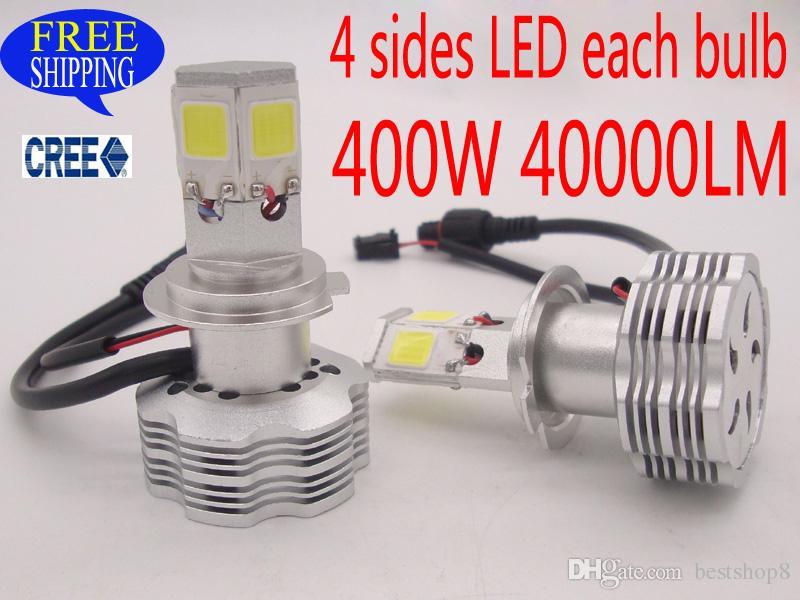 400W 40000LM H7 CREE H1 H3 H4 LED Headlight Headlamp Auto Conversion ...
