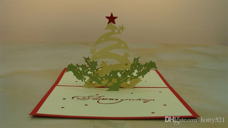 Compre Estrella De Navidad Hecha A Mano Kirigami Origami 3d Pop Up Tarjetas De Felicitación Invitación Postal Para Cumpleaños Regalo De La Fiesta De