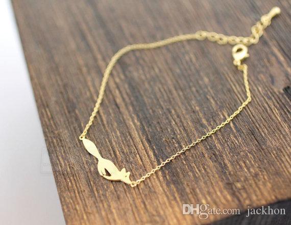 30 шт.-B016 Silver Gold симпатичные Forest Running Fox браслеты простой 3d животных Fox Face браслет крошечный Лисий Хвост браслеты для женщин