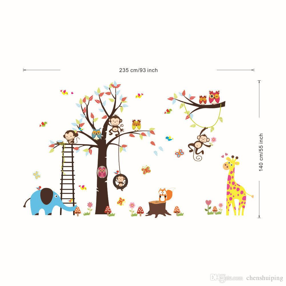 Cartoon Lovely Animal Lion Owl Monkey Elephant Zoo Removable Wall Stickers DIY Kid's Room Decor Decal Home Decoration
