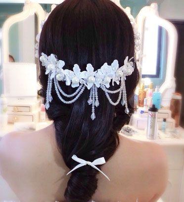 Boda nupcial Banda para el cabello Accesorio Perla Peluca Flor Cabello diadema Borla Frontlet Cristales Perlas con Boda Blanco Moda nupcial