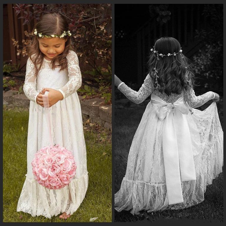 Long Sleeve Flower Girl Dress