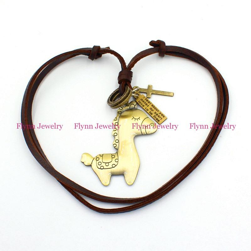 The little donkey Accessories Metal Pendant Amulet Adjustable Leather Necklace Punk Cowboy Decorations Gift