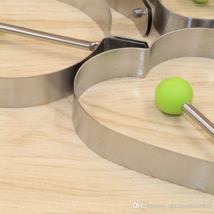 4 pçs / lote aço inoxidável omelete molde dispositivo amor surpresa ovos anel modelo conjunto coração forma de ovo molde ferramentas de estilo TT58