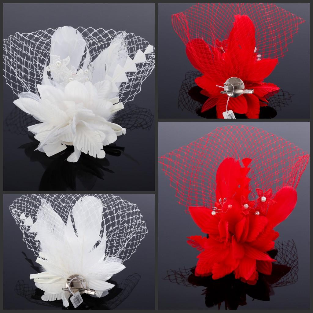 Hair accessories wedding cheap - 2015 Custom Made Feathers And Bead Embellished Bridal Face Net Hair Accessories Wedding Veils White Or Red With Pearl Bead Flower Cheap Bridal Hair Pins