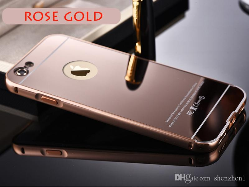 For iPhone7 7plus Aluminum Frame Bumper Cases For iPhone 5 6 6plus Mirror Back Covers Phone Protector Skins Cases DHL Free SCA061