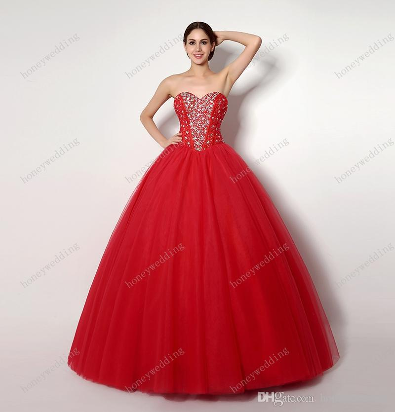 2016 Cheap Quinceanera Dresses For Sweet 16 15 Girls Birthday Party Red Ball Gowns Sequin Beaded Debutante Teens Masquerade Prom Dress Gown
