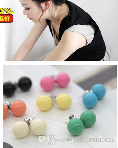 Fashion style, rosin material earring, colorfull pearl earring, Anti-allergic and many colors to choose, !