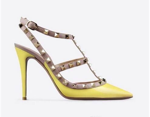 2017new бесплатная доставка дизайнер пальцы 2 плечевые ремни, высокие каблуки лакированная кожа клепки сандалии, Женские сапоги, высокие каблуки