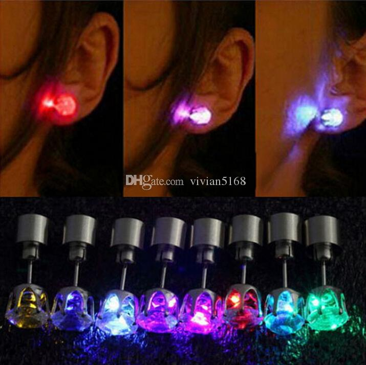 One Pair Light Up Led Stainless Steel Earrings Studs Glow Earrings Dance Party Accessories for Xmas New Year Men Women Sale