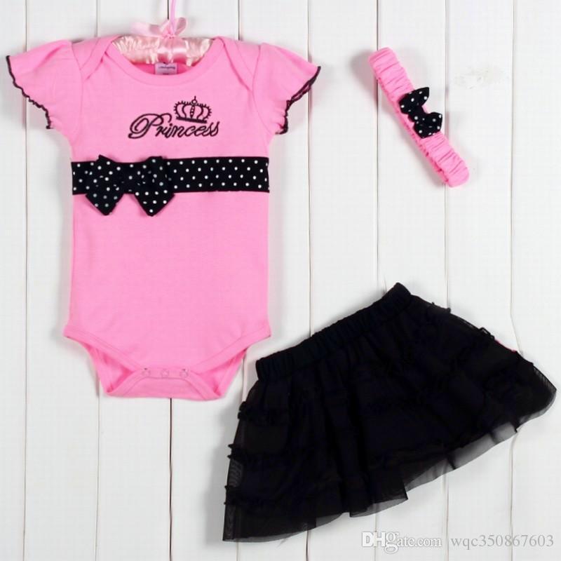 1 Conjunto de Bebê Recém-nascido Do Bebê Crianças 3 Peças Roupas Polka Dot Headband + Romper + Ruffled Tutu Saia Bodysuit Roupa Outfit Set