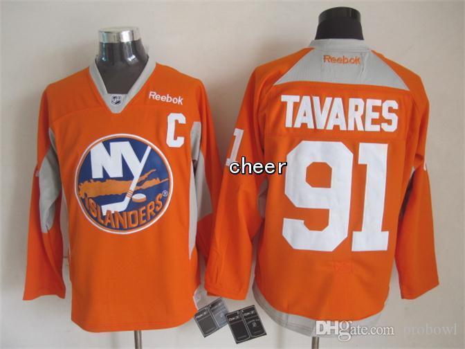 17a239594 30 Teams-Wholesale Wholesale Men's New York Islanders #91 John Tavares  Orange/Green 2015 Practice Jerseys Ice Hockey Jerseys