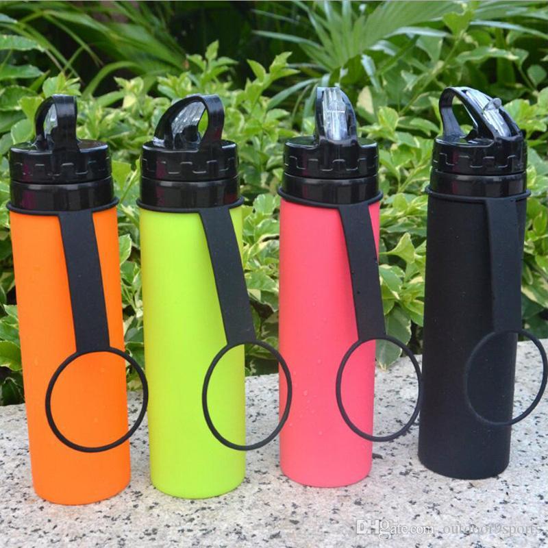 Montar bicicleta al aire libre hervidoras colorido taza de la botella de la bicicleta plegable portátil Accesorios de silicona Lentes retráctil de bicicletas de montaña de agua