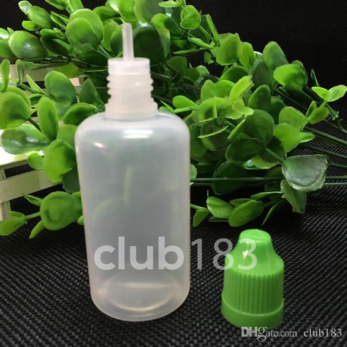 Günstige Großhandel PE 50ml Kunststoff-Flaschen mit Kindergesicherte Kronkorken Lange dünne Tips E-Zigarette Flüssigkeit Flaschen Freies Verschiffen leeren