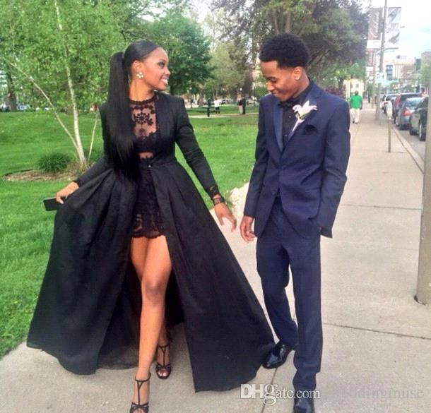 Hot Black Prom Dress Ball Gown Two Pieces Jewel Neck Lace Short Dress With Detached Long Sleeve Sweep Train Taffeta Black Evening Gowns