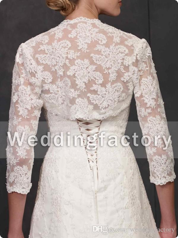 Vintage Bolero Bridal Wraps and Jackets Lace Appliques Three Quarter Illusion Sleeves Wedding Mini Coat Custom Made