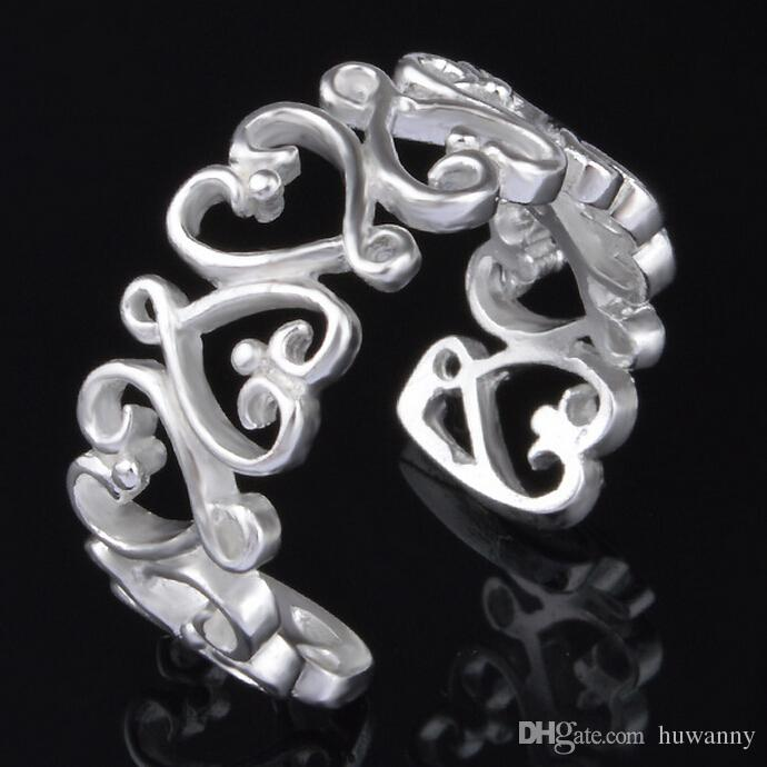 Ring Silver Band Rings Hot Selling Charm Finger Rings For Women Girl Party Gift Open Size Fashion Jewelry Wholesale 0010YDH