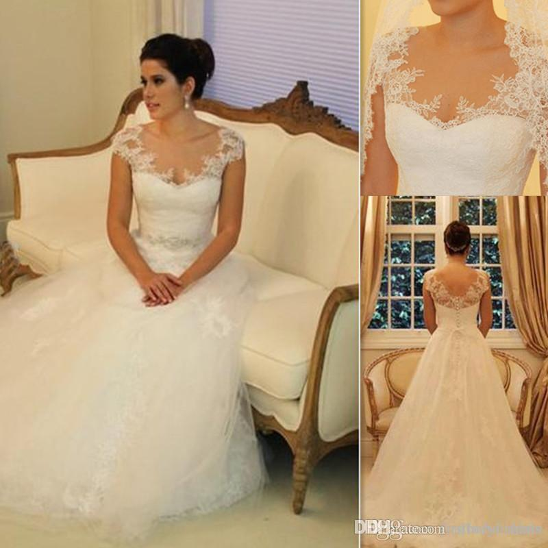 China Custom Made Wedding Dresses 2017 A-line Tulle And Lace Cap Sleeve Vintage Style Vestidos De Noiva De Luxo