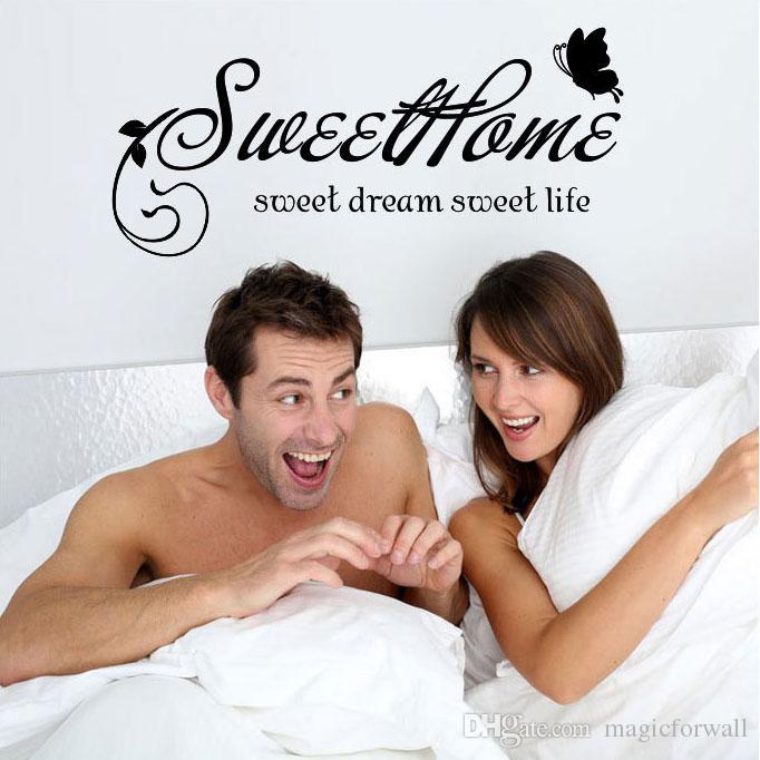 Sweet Home Sweet Dream الحياة الحلوة اقتباس الحائط صائق ملصق أسود الزهور الروطان الفراشات المنزل الفن جدارية المشارك خلفيات ديكور