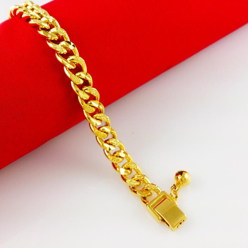 الجملة - عروض سوبر للبيع / التجزئة 18K الذهب الأصفر معبأ المرأة سوار الصلبة كبح رابط سلسلة الأزياء الحلي 8.66