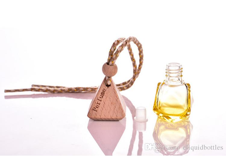 Freier Versand-DHL bunten Auto-Verzierungen Parfümflaschen Hang, leere Glasflasche Anhänger Autozubehör Parfüms Essential Oil 5ml