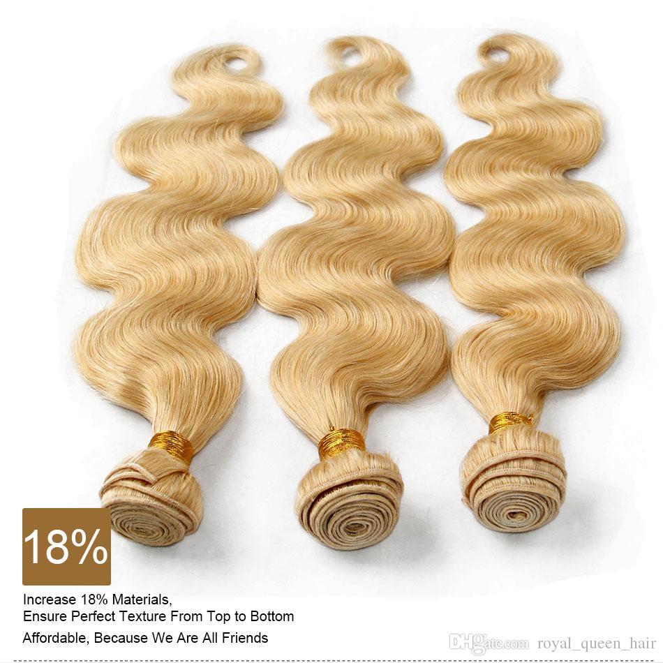 Platinum Blonde Indien Remy Extensions de Cheveux Vague de Corps Couleur ondulée 613 Bleach Blonde Indien Vierge Cheveux Weave 3 / Tangle Libre