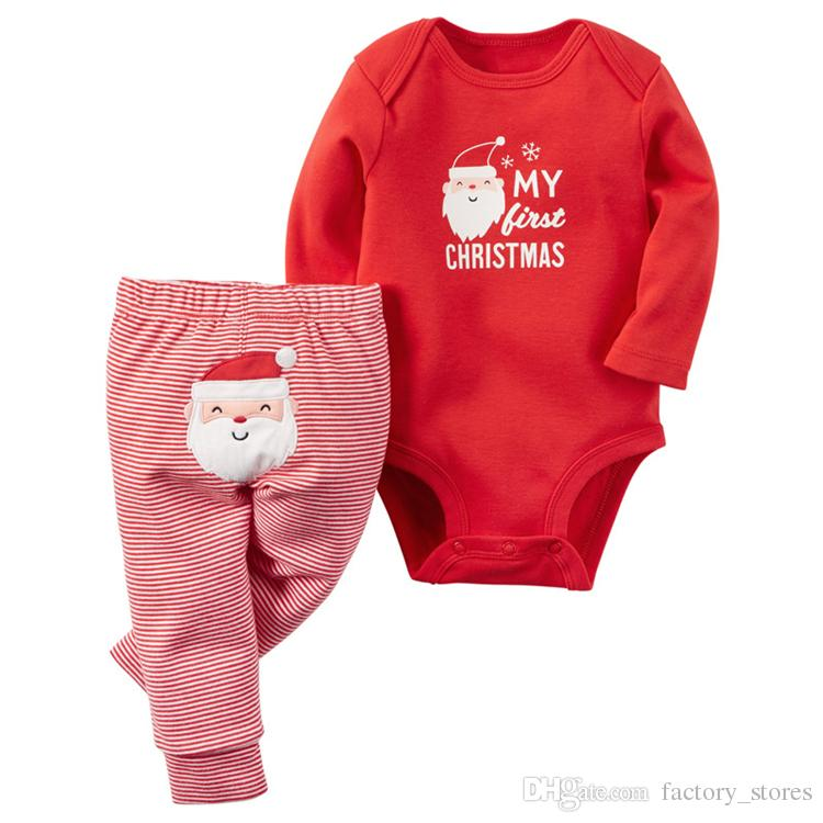 2017 Christmas Baby Romper Cotton Pajamas Girls Boys Xmas Reindeer Santa Claus Bodysuit Long Sleeve Shirt+Pants Outfits 4 choice