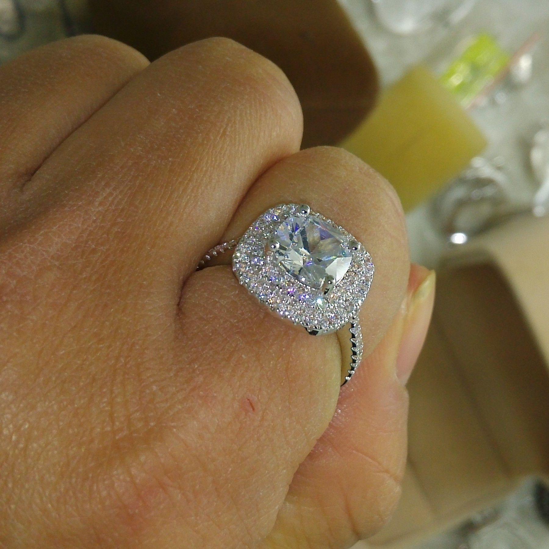 Boyutu 5-10 Lüks Takı 925 sterling gümüş dolu tam topaz CZ Gem kadınlar düğün simüle Elmas Düğün Nişan Parmak Yüzük hediye