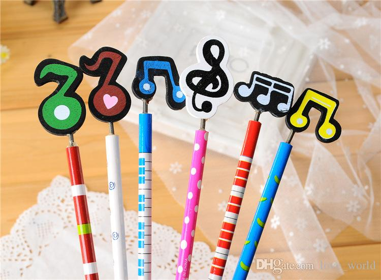 Hot new Music Notation Wooden Pencil Novelty Cute Cartoon School Stationery Pencils For Students Christmas Gift New Arrival