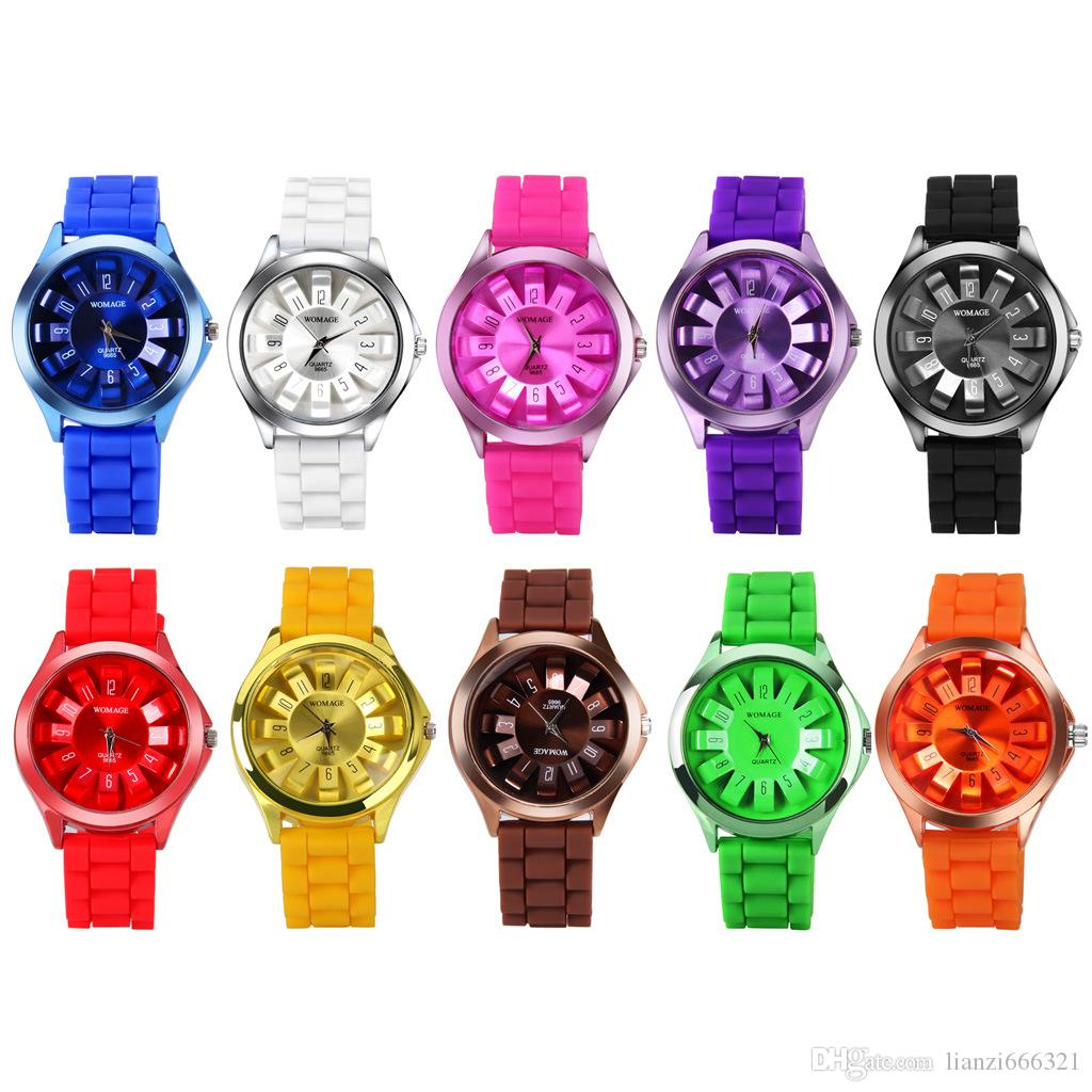 2017 nova moda verão colorido mulheres senhoras geléia womage mamãe strapap12 números de quartzo dress relógio de pulso 1550