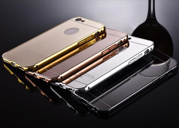 Aluminum metal bumper frame case with mirror Back cover for iphone 6 6S Plus 5 S4 S5 S6 edege plus note 4 5