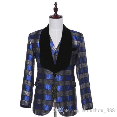 Blue Striped Plaid Men Wedding Suit Groom Tuxedo Bridegroom Business Formal Suit jacket + pants + vest custom made