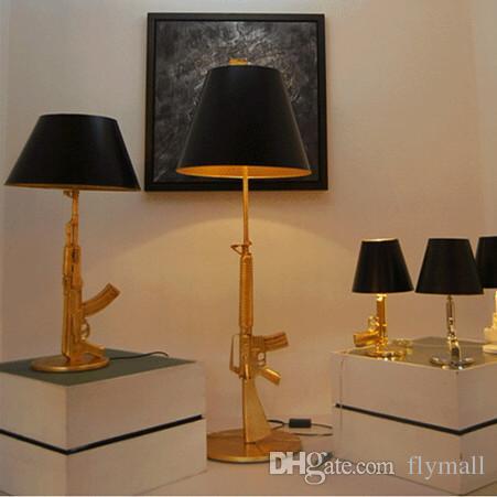 Modern Art Flos Guns AK47 Table Lamp Creative Starck Design Philippe  Bedroom Desk Light Read Night Light AC 110V 240V Gold Chrome Big Medium  Table Lamps ...