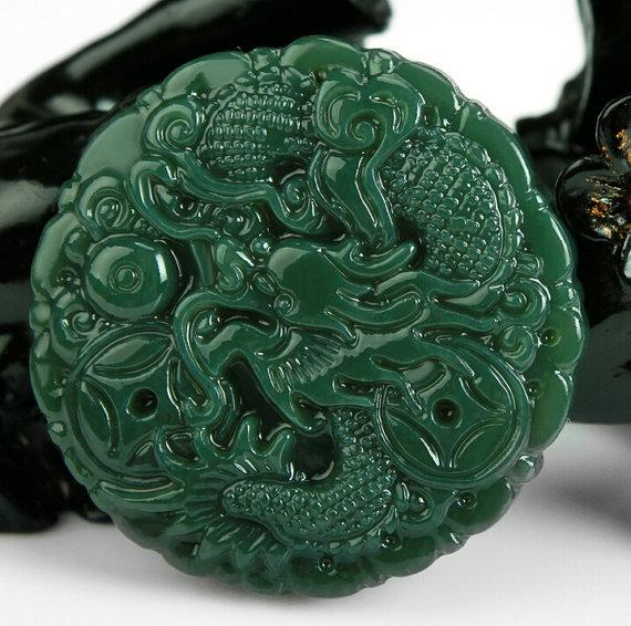Wholesale natural dark green jade carving jade pendant lucky charm see larger image mozeypictures Gallery