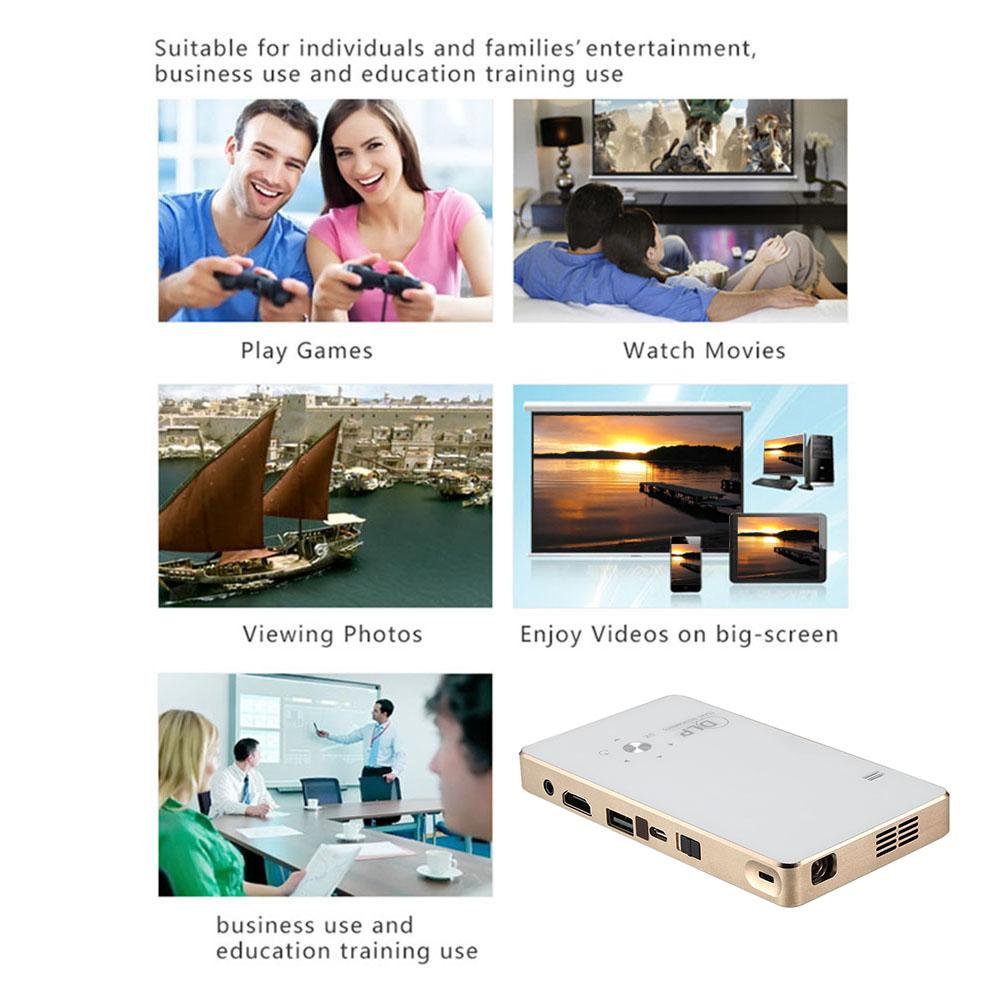 GP2S-UP DLP Projector Full HD 1080P Contrast Ratio 600:1 HDMI Projection Build-in WiFi EZCast/Miracast/Airplay USB Free Tripod