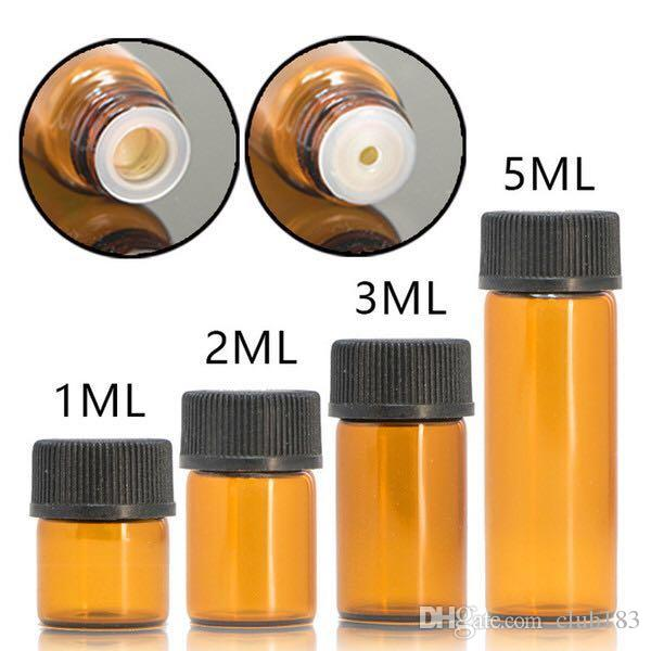 Freies Verschiffen 1 ml 2 ml 3 ml 5 ml Kleine Braunglasprobenflasche Vials mit Öffnung Minderer schwarze Kappe für die Aromatherapie ätherische Öle
