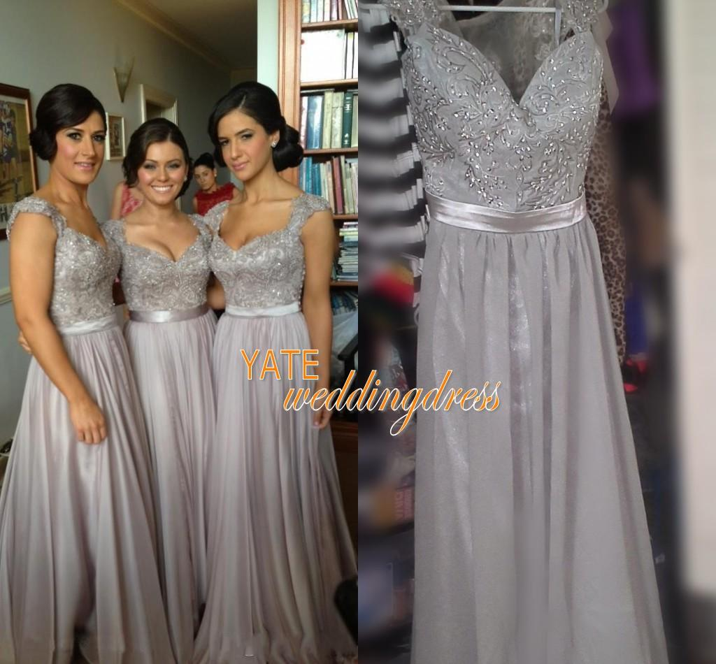 On sale silver chiffon lace bridesmaid dresses cap sleeve pattern silver chiffon lace bridesmaid dresses cap sleeve pattern back 2015 bridesmaid dress a line long length beading appliques gown bridesmaid dresses green ombrellifo Choice Image