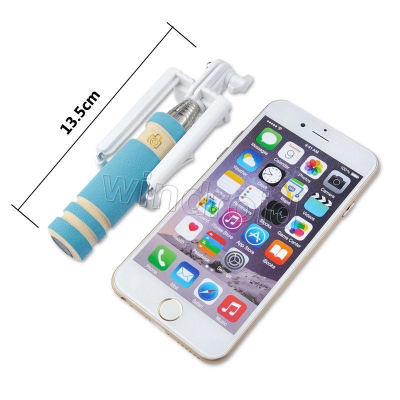 Mini portátil selfie telefone celular vara titular tudo em um cabo de tomada de controle com fio monopé para iphone samsung frete grátis