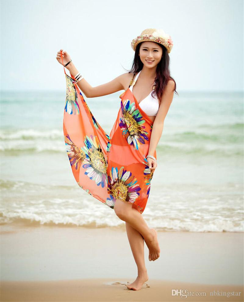 2017 Summer Women Sexy Swimwear Open-Back Wrap Front Cover Up Sunscreen Beach Towels Chiffon Shwal Sunflower Saia Bikini