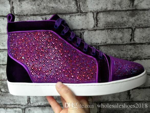 e34c677e3d45 Purple Suede Crystals Hi Top Spikes Casual Flats Red Bottom Luxury Shoes  For Men And Women Party Designer Sneakers Lovers Genuine Leather Purple  Shoes ...
