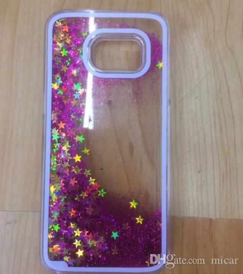 For Galaxy s7 s7edge Colorful Moving Stars Liquid Glitter Quicksand 3D Bling Phone Case Cover For Apple Iphone 6 iphone5/5S Shining